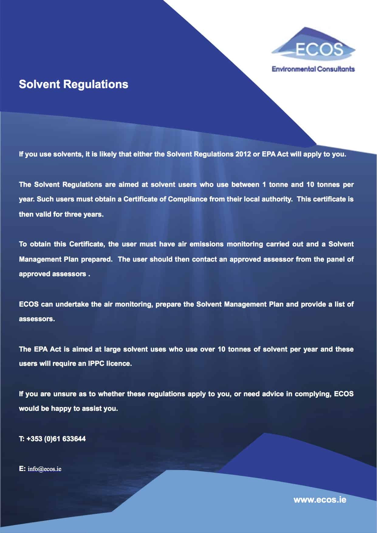 Solvent Regulations